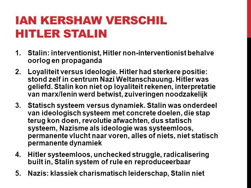 IAN KERSHAW VERSCHIL HITLER STALIN 1.Stalin: interventionist, Hitler non-interventionist behalve oorlog en propaganda 2.Loyaliteit versus ideologie. H
