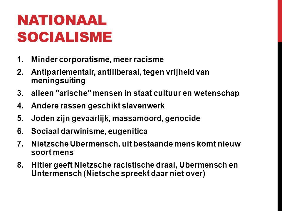 NATIONAAL SOCIALISME 1.Minder corporatisme, meer racisme 2.Antiparlementair, antiliberaal, tegen vrijheid van meningsuiting 3.alleen