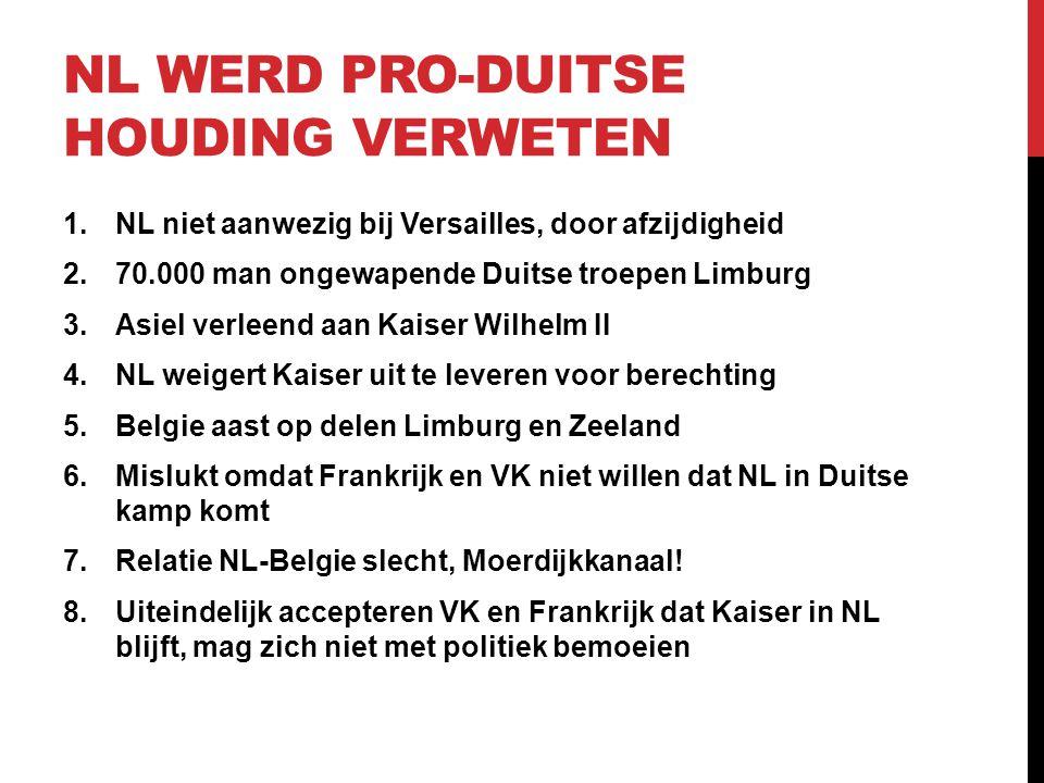 NL WERD PRO-DUITSE HOUDING VERWETEN 1.NL niet aanwezig bij Versailles, door afzijdigheid 2.70.000 man ongewapende Duitse troepen Limburg 3.Asiel verle