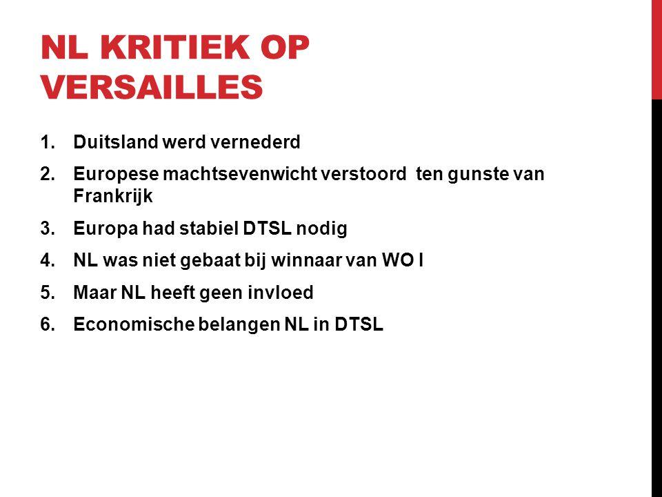 NL KRITIEK OP VERSAILLES 1.Duitsland werd vernederd 2.Europese machtsevenwicht verstoord ten gunste van Frankrijk 3.Europa had stabiel DTSL nodig 4.NL