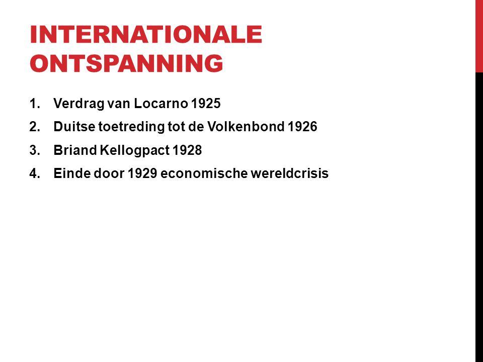INTERNATIONALE ONTSPANNING 1.Verdrag van Locarno 1925 2.Duitse toetreding tot de Volkenbond 1926 3.Briand Kellogpact 1928 4.Einde door 1929 economisch
