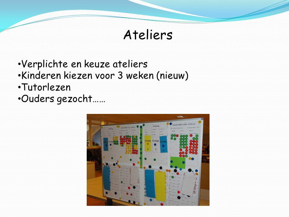 Ateliers Verplichte en keuze ateliers Kinderen kiezen voor 3 weken (nieuw) Tutorlezen Ouders gezocht……