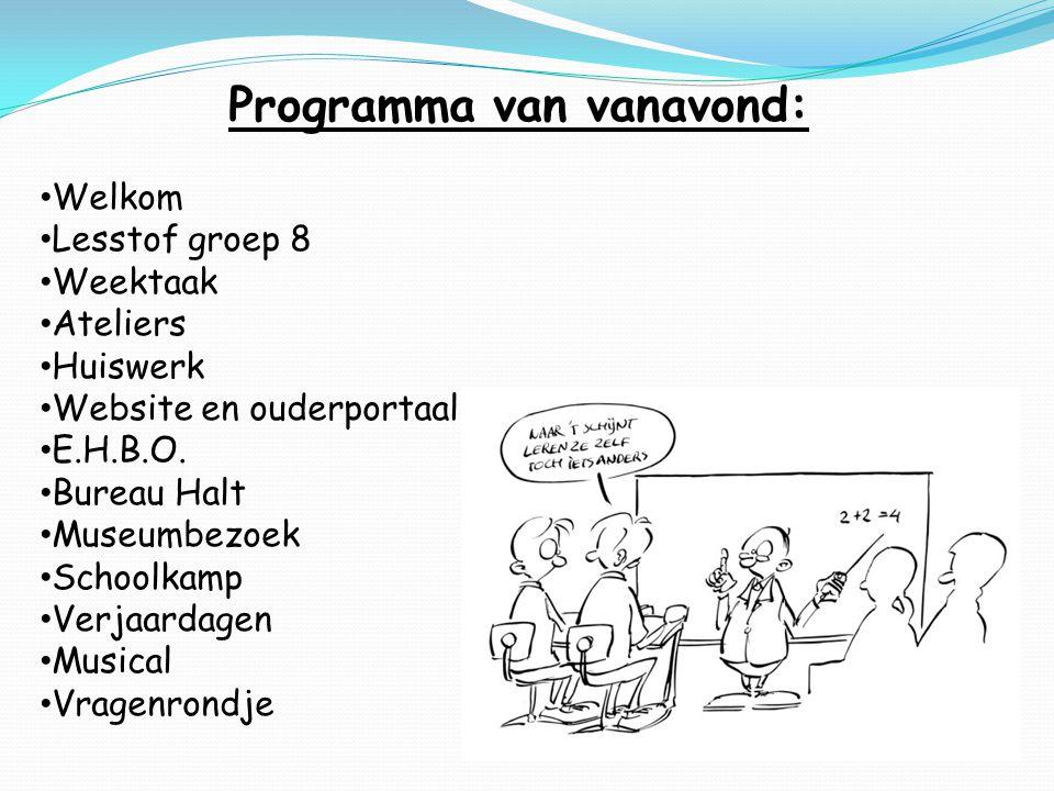 Programma van vanavond: Welkom Lesstof groep 8 Weektaak Ateliers Huiswerk Website en ouderportaal E.H.B.O.