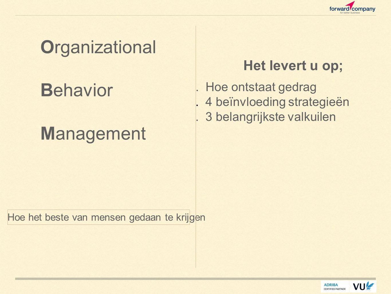 Hoe het beste van mensen gedaan te krijgen Organizational Behavior Management Het levert u op;. Hoe ontstaat gedrag. 4 beïnvloeding strategieën. 3 bel
