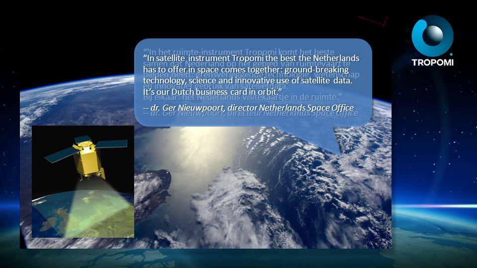 Oz 2010 Nauwkeurige metingen Tropomi bouwt voort op de Nederlandse bijdrage aan satellietinstrumenten als GOME, Sciamachy en OMI Detecteert onder andere ozon, methaan, stikstofdioxide en zwaveldioxide Accurate measurements Tropomi builds on the Dutch contribution to satellite instruments such as GOME, Sciamachy and OMI Detects amongst others ozone, methane, nitrogen dioxide and sulphur dioxide Ozone (Dobson units) 110 330 550 440 220 2011