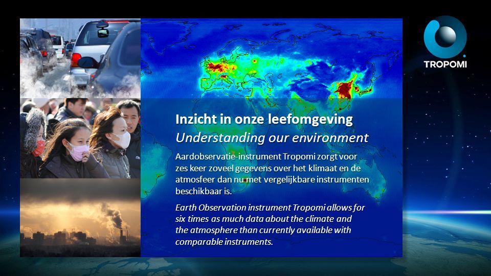 Inzicht in onze leefomgeving Understanding our environment Aardobservatie-instrument Tropomi zorgt voor zes keer zoveel gegevens over het klimaat en d