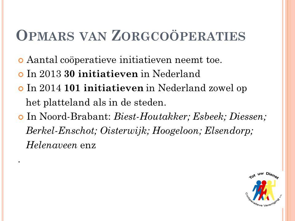 O PMARS VAN Z ORGCOÖPERATIES Aantal coöperatieve initiatieven neemt toe. In 2013 30 initiatieven in Nederland In 2014 101 initiatieven in Nederland zo