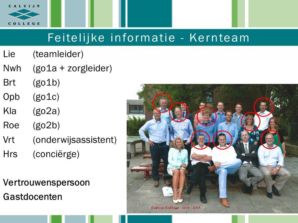 Feitelijke informatie - Kernteam Lie(teamleider) Nwh (go1a + zorgleider) Brt(go1b) Opb(go1c) Kla(go2a) Roe(go2b) Vrt(onderwijsassistent) Hrs(conciërge