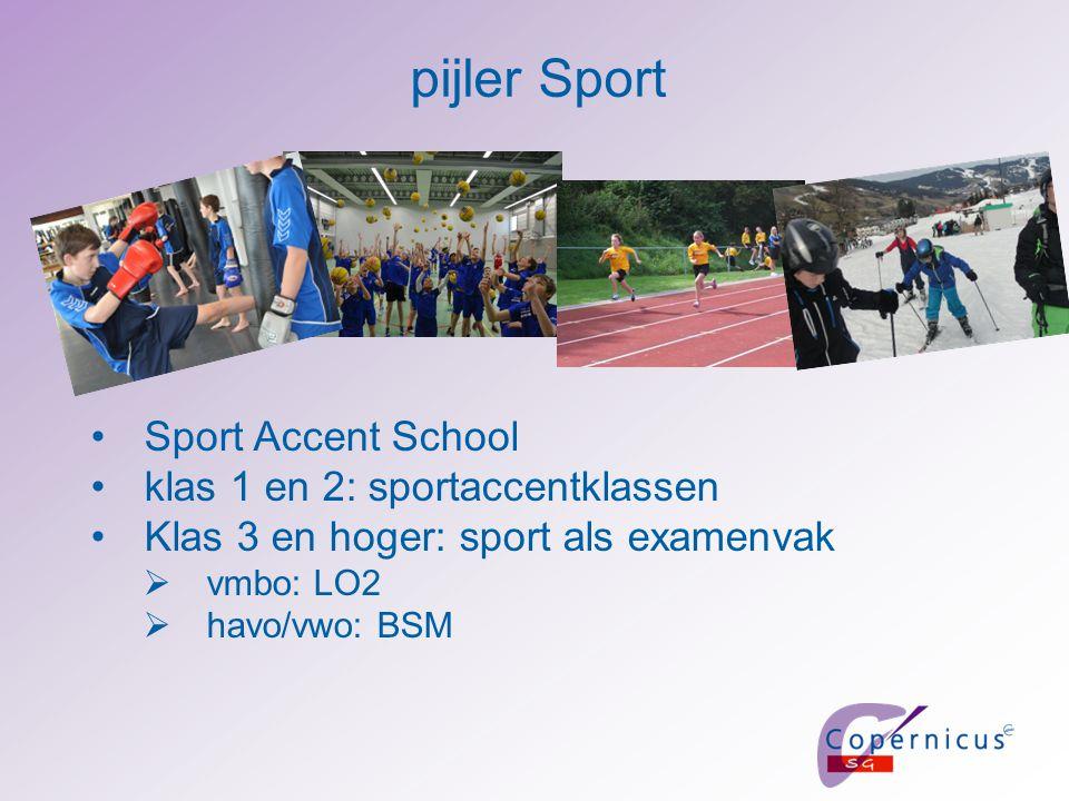 Sport Accent School klas 1 en 2: sportaccentklassen Klas 3 en hoger: sport als examenvak  vmbo: LO2  havo/vwo: BSM pijler Sport
