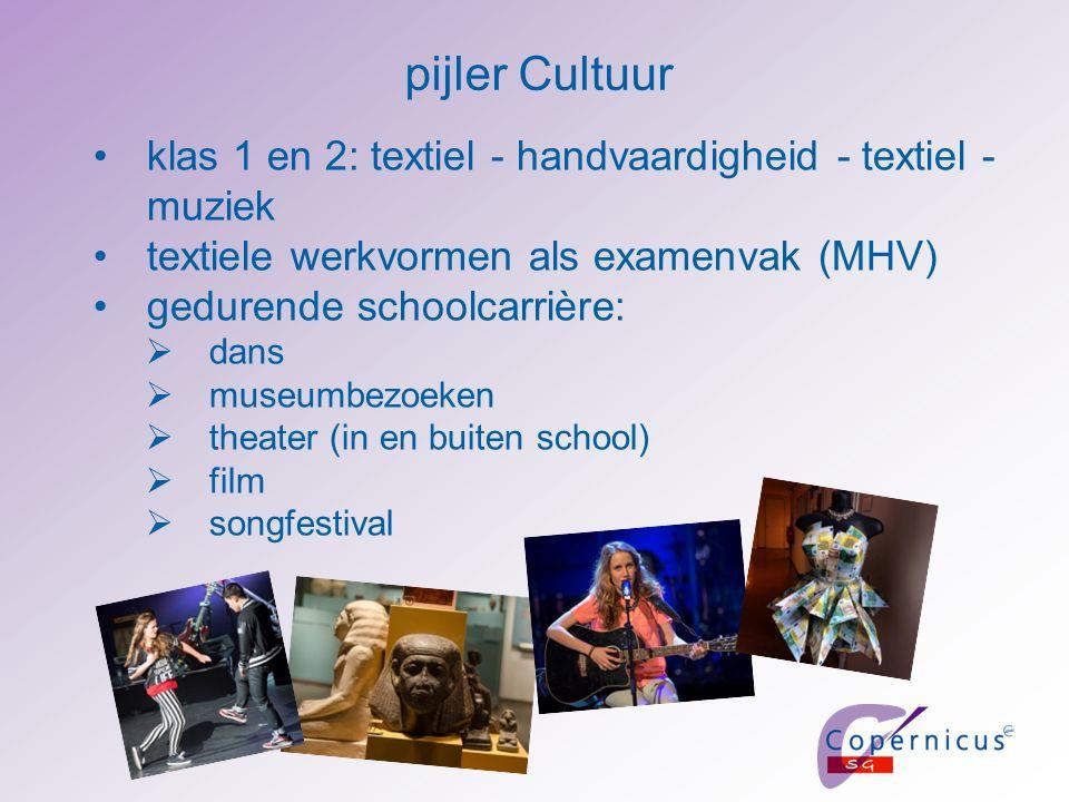 pijler Cultuur klas 1 en 2: textiel - handvaardigheid - textiel - muziek textiele werkvormen als examenvak (MHV) gedurende schoolcarrière:  dans  mu