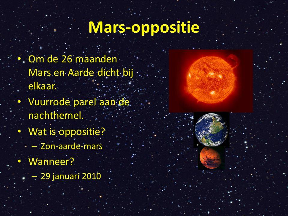 Mars-oppositie Om de 26 maanden Mars en Aarde dicht bij elkaar. Vuurrode parel aan de nachthemel. Wat is oppositie? – Zon-aarde-mars Wanneer? – 29 jan