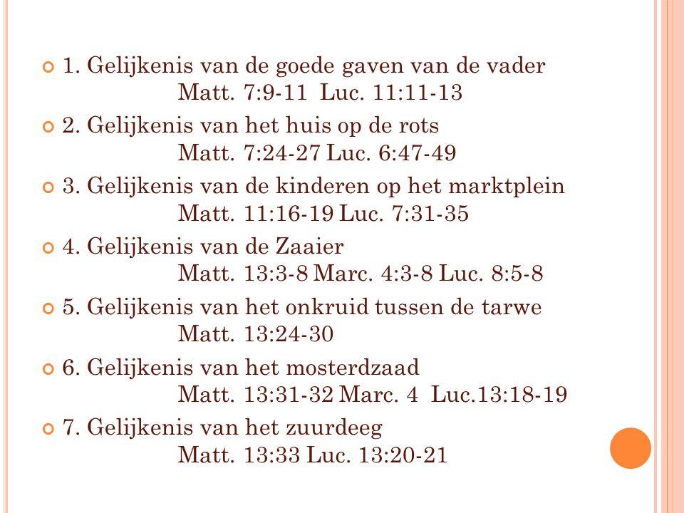1. Gelijkenis van de goede gaven van de vader Matt. 7:9-11 Luc. 11:11-13 2. Gelijkenis van het huis op de rots Matt. 7:24-27 Luc. 6:47-49 3. Gelijkeni