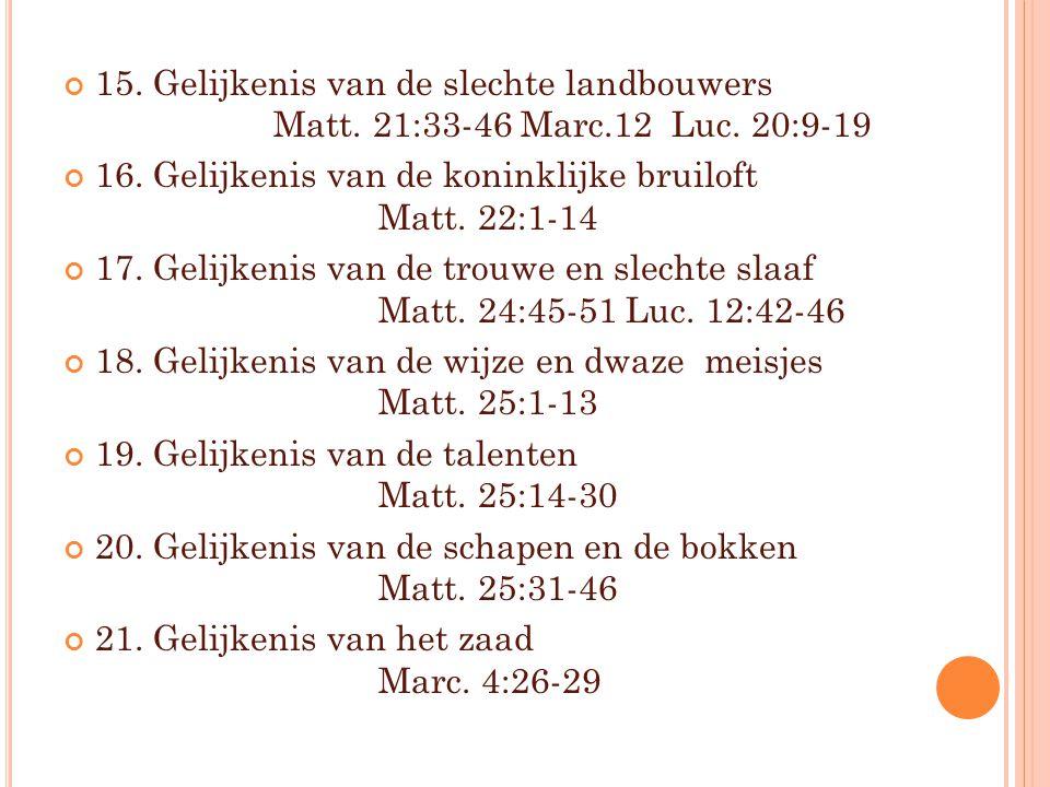 15. Gelijkenis van de slechte landbouwers Matt. 21:33-46 Marc.12 Luc. 20:9-19 16. Gelijkenis van de koninklijke bruiloft Matt. 22:1-14 17. Gelijkenis