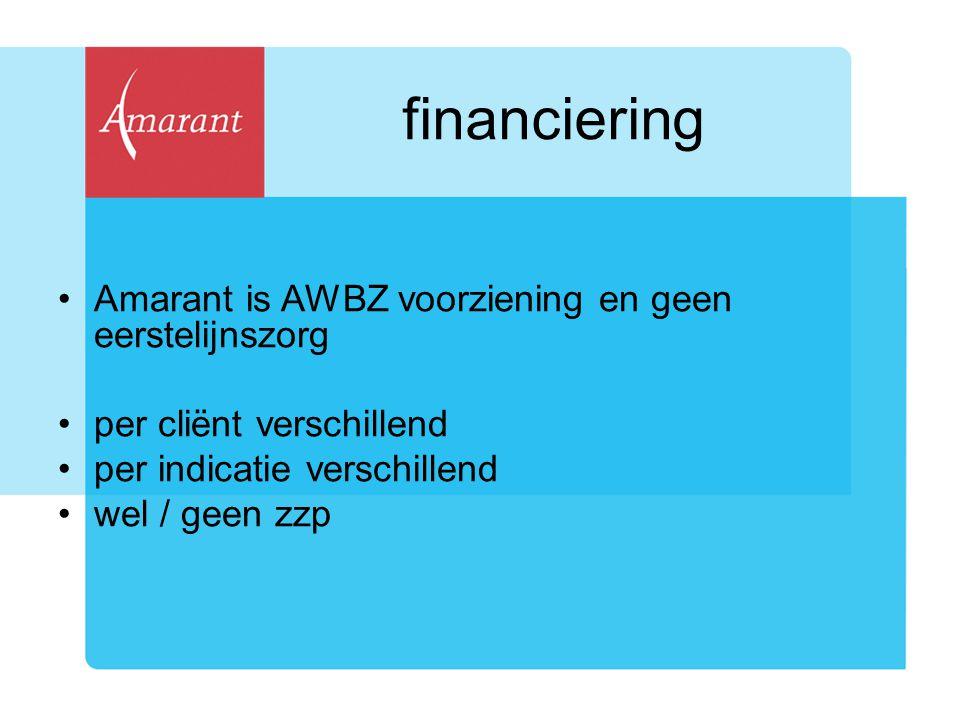 financiering Amarant is AWBZ voorziening en geen eerstelijnszorg per cliënt verschillend per indicatie verschillend wel / geen zzp