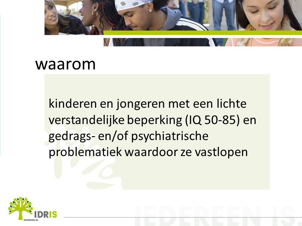 waarom kinderen en jongeren met een lichte verstandelijke beperking (IQ 50-85) en gedrags- en/of psychiatrische problematiek waardoor ze vastlopen