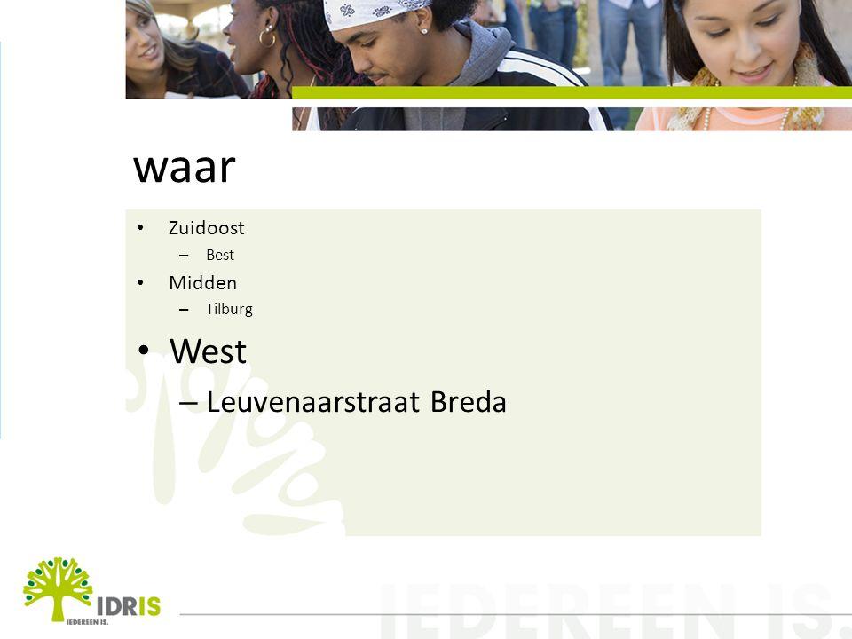 waar Zuidoost – Best Midden – Tilburg West – Leuvenaarstraat Breda