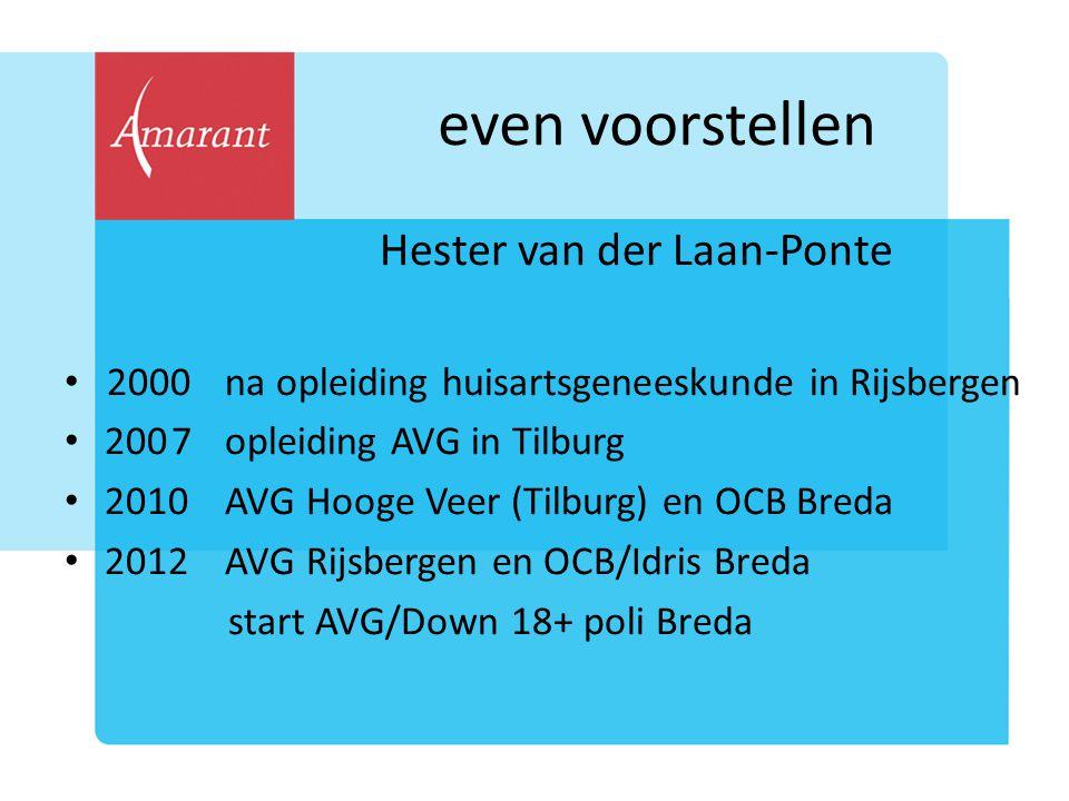 even voorstellen Hester van der Laan-Ponte 2000na opleiding huisartsgeneeskunde in Rijsbergen 2007opleiding AVG in Tilburg 2010AVG Hooge Veer (Tilburg