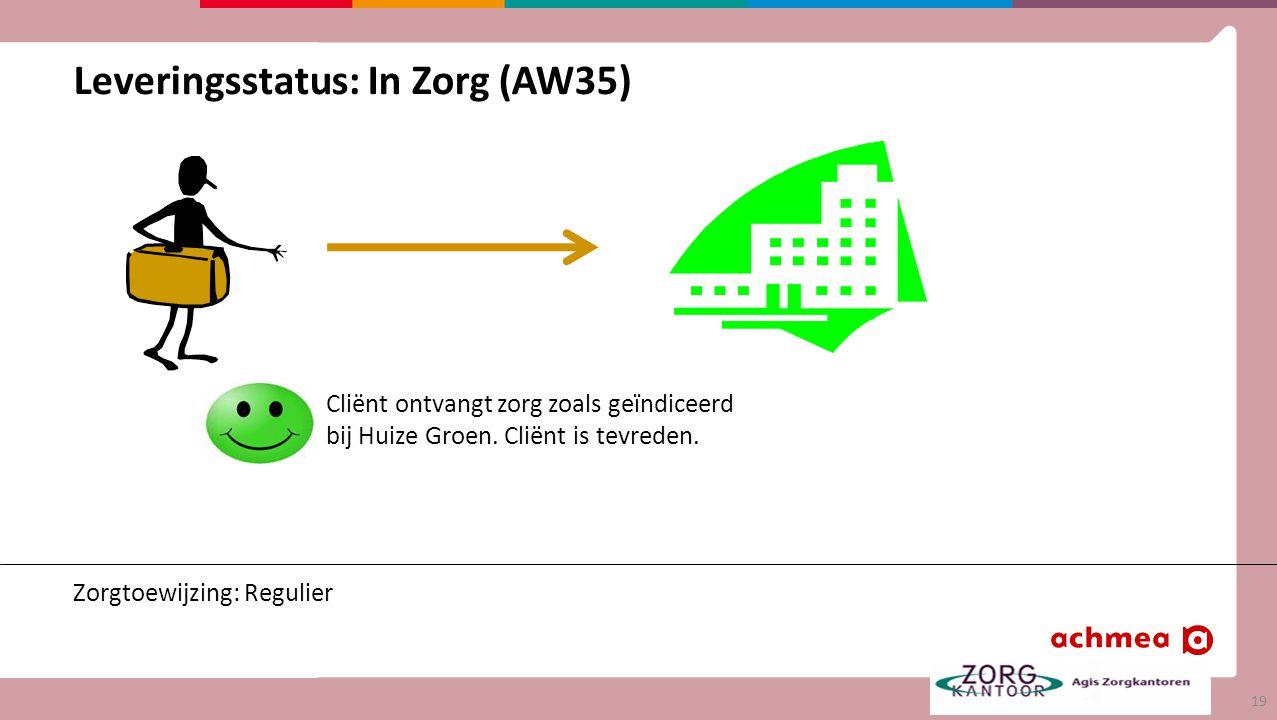 Leveringsstatus: In Zorg (AW35) Zorgtoewijzing: Regulier Cliënt ontvangt zorg zoals geïndiceerd bij Huize Groen.