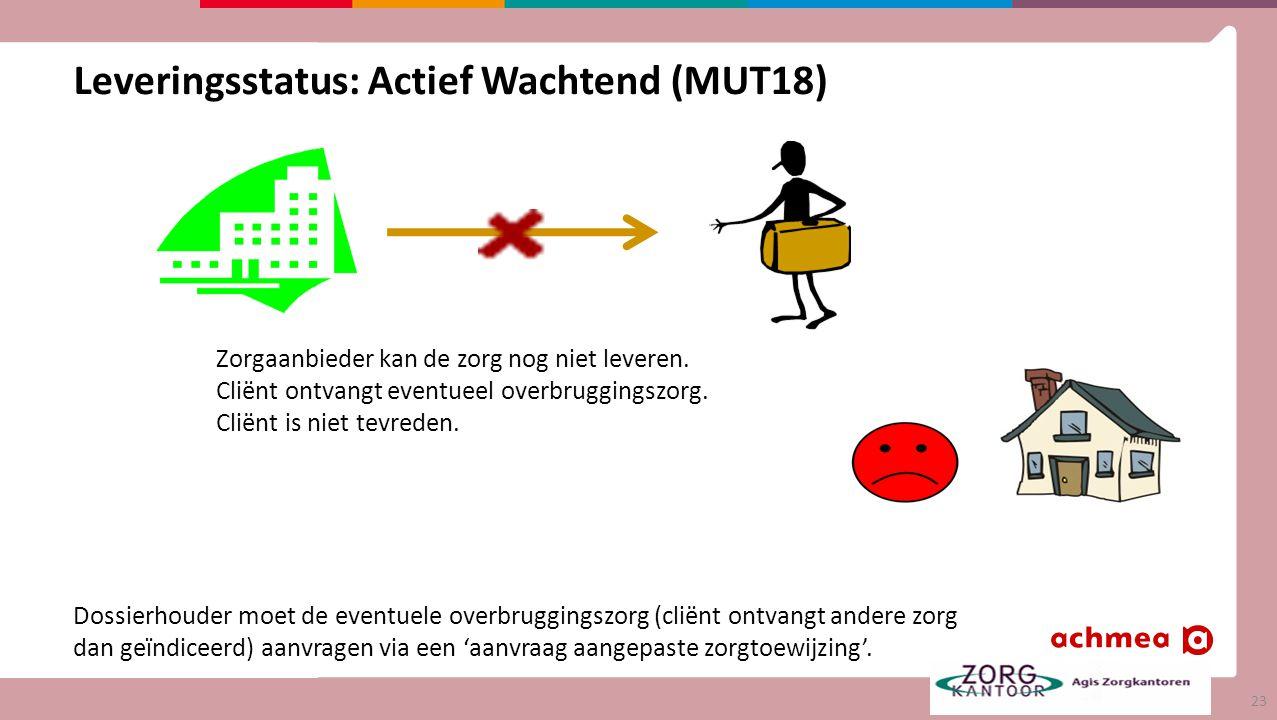Leveringsstatus: Actief Wachtend (MUT18) Zorgaanbieder kan de zorg nog niet leveren.