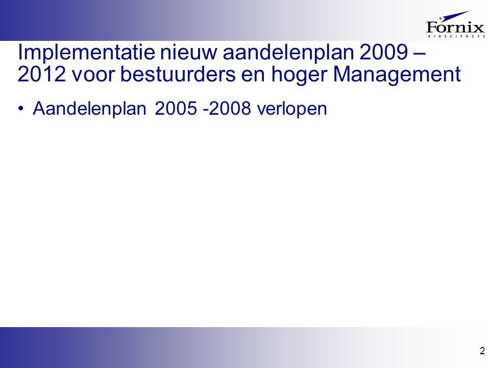 2 Implementatie nieuw aandelenplan 2009 – 2012 voor bestuurders en hoger Management Aandelenplan 2005 -2008 verlopen
