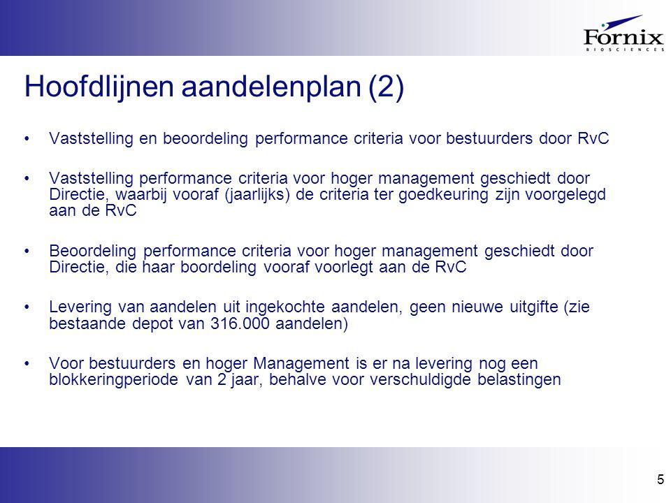 5 Hoofdlijnen aandelenplan (2) Vaststelling en beoordeling performance criteria voor bestuurders door RvC Vaststelling performance criteria voor hoger management geschiedt door Directie, waarbij vooraf (jaarlijks) de criteria ter goedkeuring zijn voorgelegd aan de RvC Beoordeling performance criteria voor hoger management geschiedt door Directie, die haar boordeling vooraf voorlegt aan de RvC Levering van aandelen uit ingekochte aandelen, geen nieuwe uitgifte (zie bestaande depot van 316.000 aandelen) Voor bestuurders en hoger Management is er na levering nog een blokkeringperiode van 2 jaar, behalve voor verschuldigde belastingen