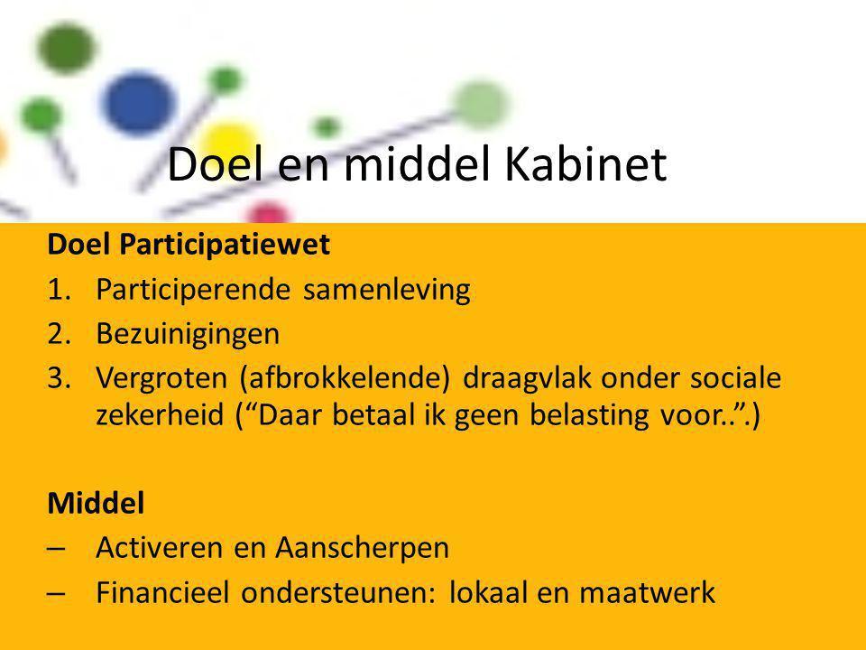 Doel en middel Kabinet Doel Participatiewet 1.Participerende samenleving 2.Bezuinigingen 3.Vergroten (afbrokkelende) draagvlak onder sociale zekerheid