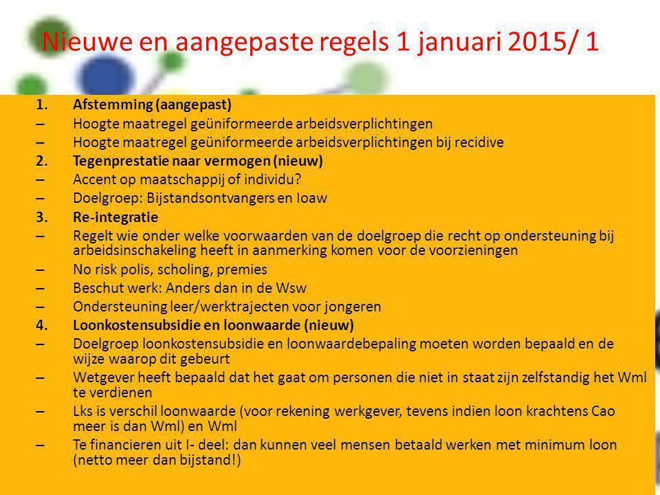Nieuwe en aangepaste regels 1 januari 2015/ 1 1.Afstemming (aangepast) – Hoogte maatregel geüniformeerde arbeidsverplichtingen – Hoogte maatregel geün