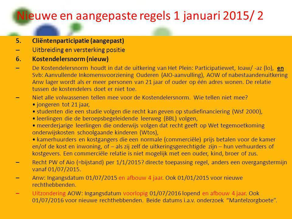 Nieuwe en aangepaste regels 1 januari 2015/ 2 5.Cliëntenparticipatie (aangepast) – Uitbreiding en versterking positie 6.Kostendelersnorm (nieuw) – De