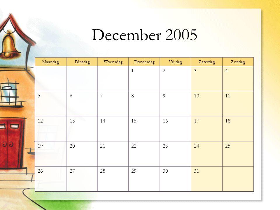 December 2005 MaandagDinsdagWoensdagDonderdagVrijdagZaterdagZondag 1234 567891011 12131415161718 19202122232425 262728293031
