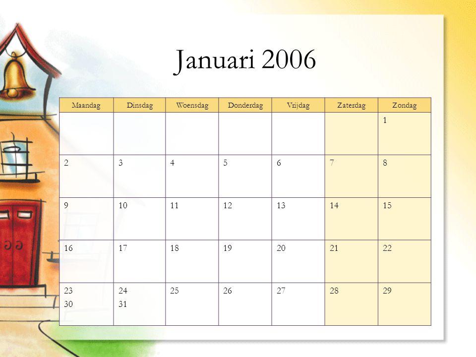 Januari 2006 MaandagDinsdagWoensdagDonderdagVrijdagZaterdagZondag 1 2345678 9101112131415 16171819202122 23 30 24 31 2526272829