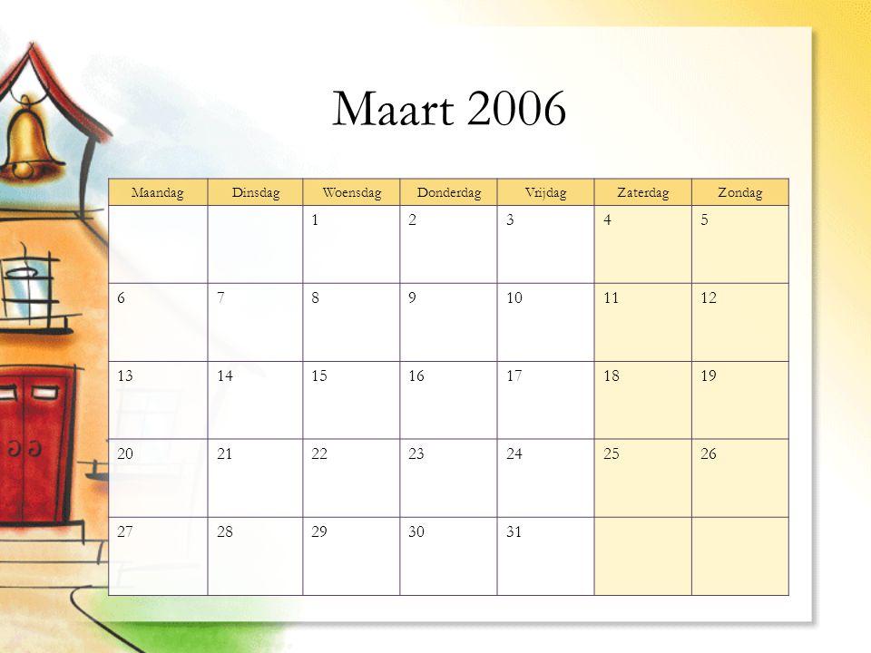 Maart 2006 MaandagDinsdagWoensdagDonderdagVrijdagZaterdagZondag 12345 6789101112 13141516171819 20212223242526 2728293031
