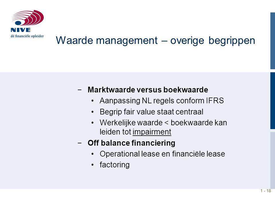 1 - 18 Waarde management – overige begrippen −Marktwaarde versus boekwaarde Aanpassing NL regels conform IFRS Begrip fair value staat centraal Werkeli