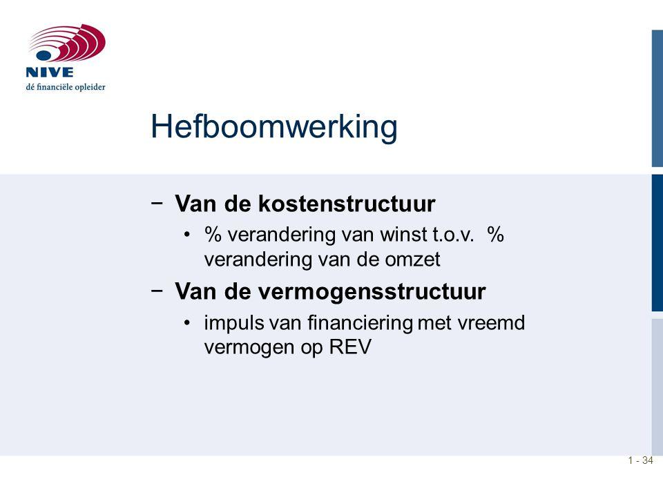1 - 34 Hefboomwerking −Van de kostenstructuur % verandering van winst t.o.v. % verandering van de omzet −Van de vermogensstructuur impuls van financie