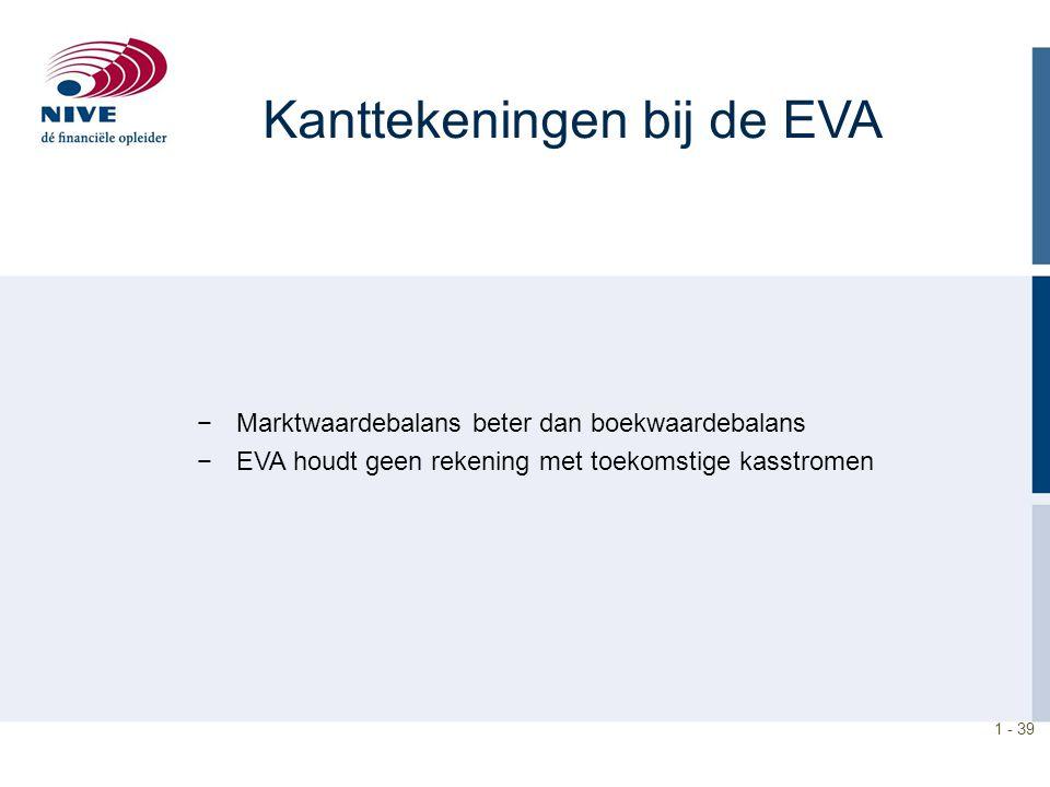 1 - 39 Kanttekeningen bij de EVA −Marktwaardebalans beter dan boekwaardebalans −EVA houdt geen rekening met toekomstige kasstromen