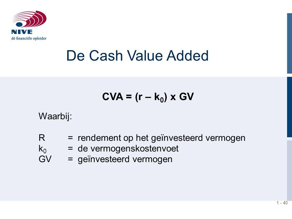 1 - 40 De Cash Value Added CVA = (r – k 0 ) x GV Waarbij: R = rendement op het geïnvesteerd vermogen k 0 = de vermogenskostenvoet GV = geïnvesteerd ve