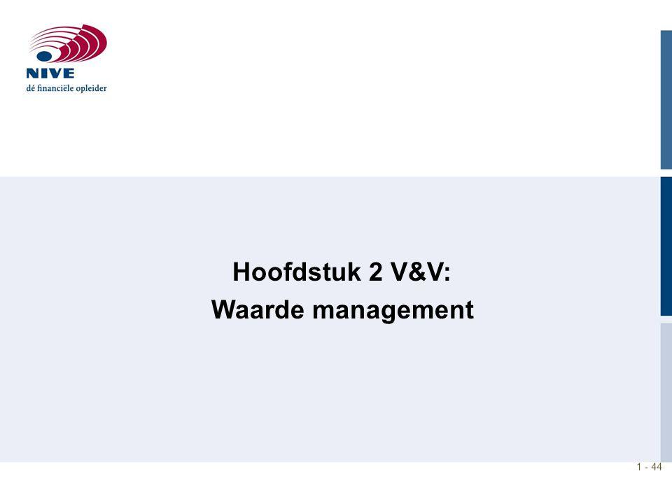 1 - 44 Hoofdstuk 2 V&V: Waarde management
