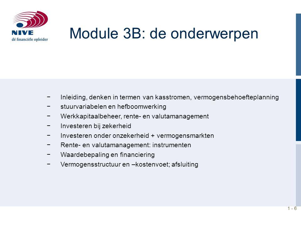 1 - 6 Module 3B: de onderwerpen −Inleiding, denken in termen van kasstromen, vermogensbehoefteplanning −stuurvariabelen en hefboomwerking −Werkkapitaa