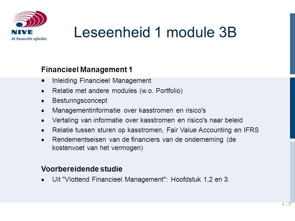 1 - 7 Leseenheid 1 module 3B Financieel Management 1  Inleiding Financieel Management  Relatie met andere modules (w.o. Portfolio)  Besturingsconce