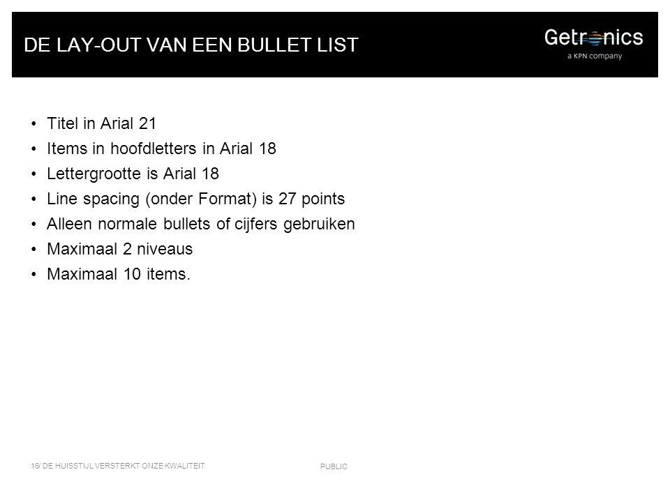 DE LAY-OUT VAN EEN BULLET LIST Titel in Arial 21 Items in hoofdletters in Arial 18 Lettergrootte is Arial 18 Line spacing (onder Format) is 27 points