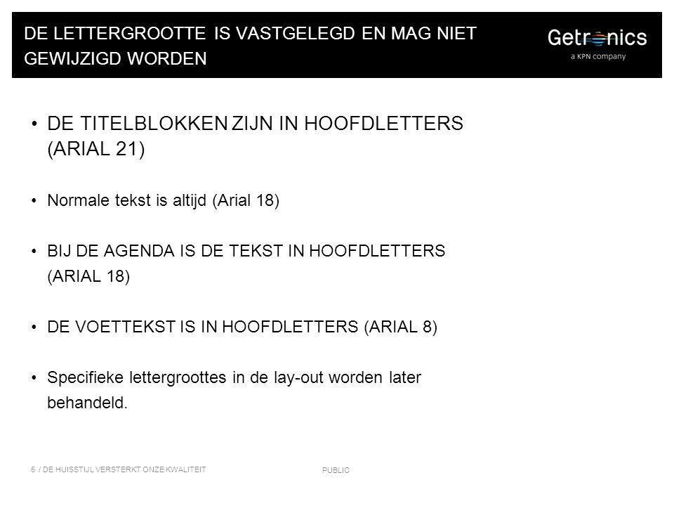 DE LAY-OUT VAN DE AFSLUITENDE SLIDE Alleen het e-mail adres en het telefoon- nummer Tekst in Arial 12 (zwart 40%) Geen teksten als: VRAGEN?.