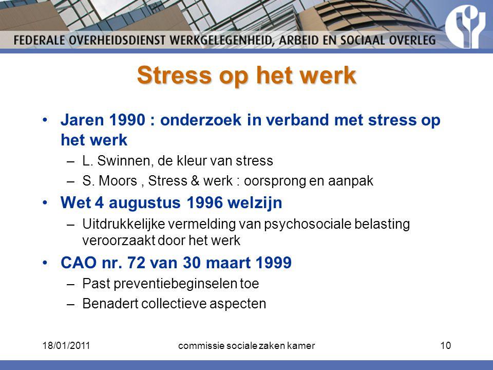 Stress op het werk Jaren 1990 : onderzoek in verband met stress op het werk –L. Swinnen, de kleur van stress –S. Moors, Stress & werk : oorsprong en a