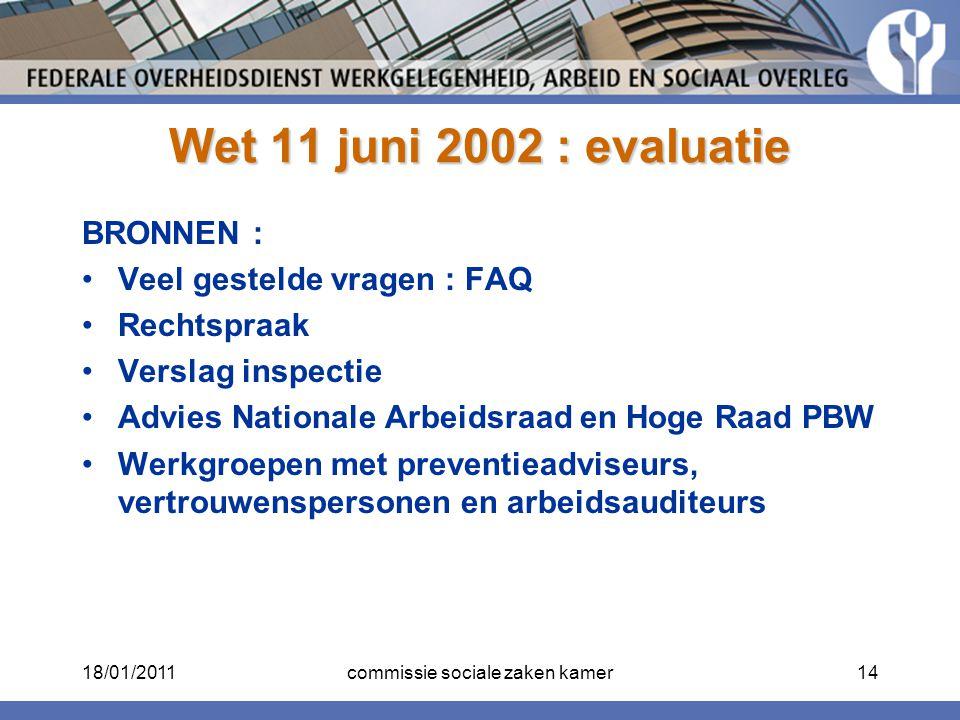 Wet 11 juni 2002 : evaluatie BRONNEN : Veel gestelde vragen : FAQ Rechtspraak Verslag inspectie Advies Nationale Arbeidsraad en Hoge Raad PBW Werkgroe