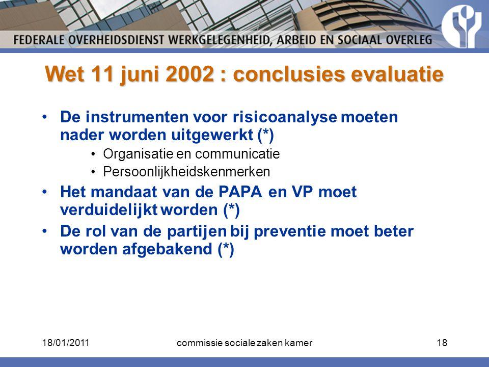 Wet 11 juni 2002 : conclusies evaluatie De instrumenten voor risicoanalyse moeten nader worden uitgewerkt (*) Organisatie en communicatie Persoonlijkh