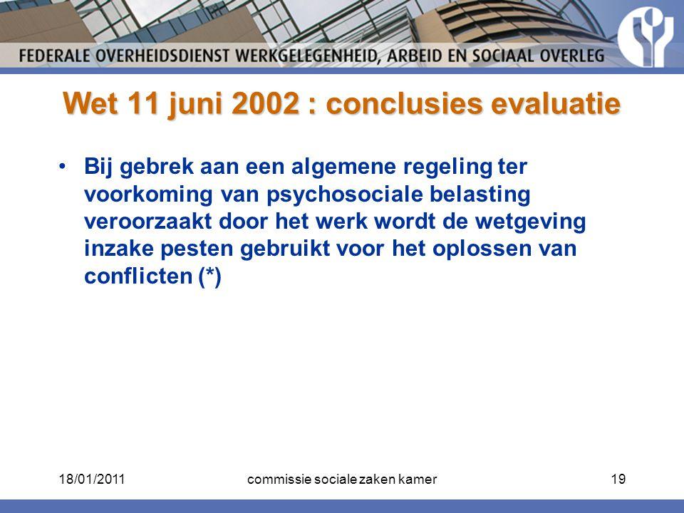 Wet 11 juni 2002 : conclusies evaluatie Bij gebrek aan een algemene regeling ter voorkoming van psychosociale belasting veroorzaakt door het werk word