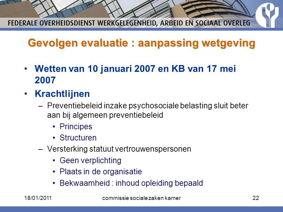 Gevolgen evaluatie : aanpassing wetgeving Wetten van 10 januari 2007 en KB van 17 mei 2007 Krachtlijnen –Preventiebeleid inzake psychosociale belastin