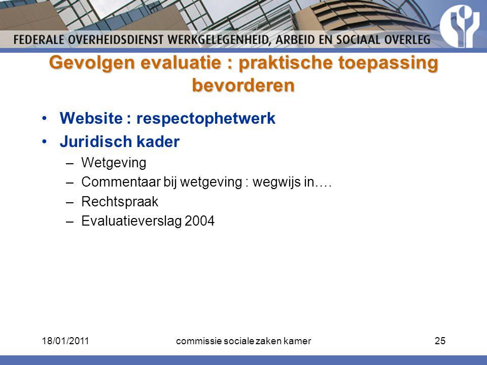 Gevolgen evaluatie : praktische toepassing bevorderen Website : respectophetwerk Juridisch kader –Wetgeving –Commentaar bij wetgeving : wegwijs in…. –