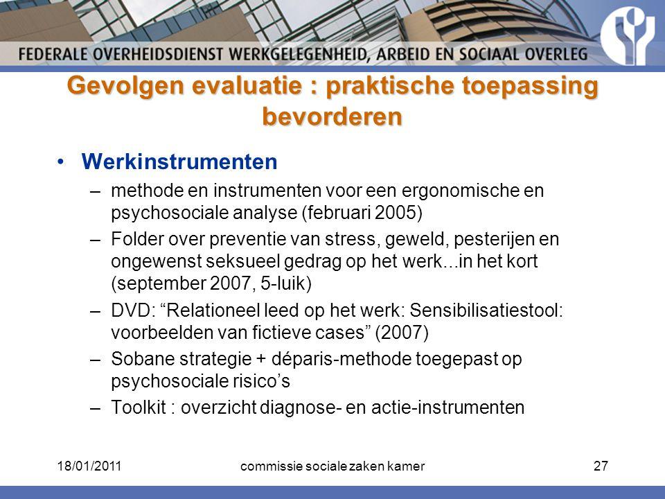 Gevolgen evaluatie : praktische toepassing bevorderen Werkinstrumenten –methode en instrumenten voor een ergonomische en psychosociale analyse (februa