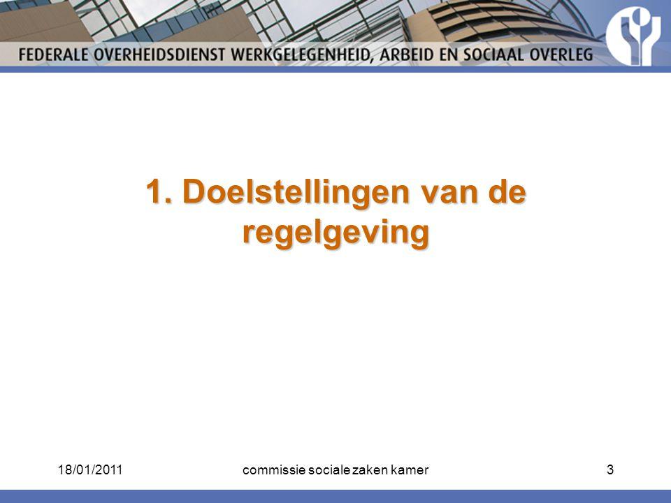 1. Doelstellingen van de regelgeving 18/01/20113commissie sociale zaken kamer