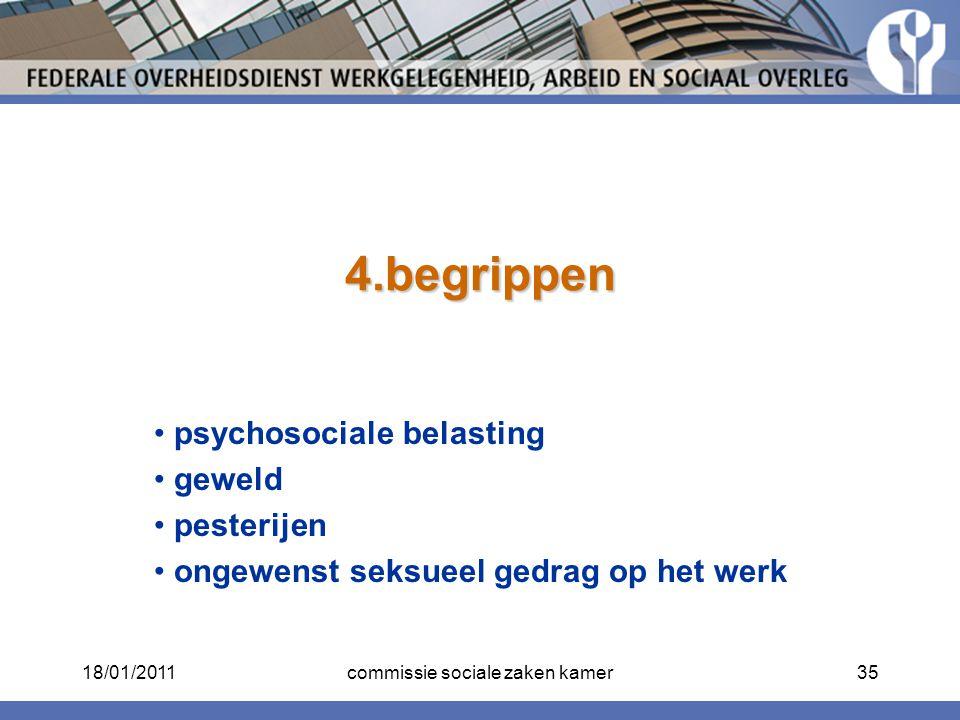 4.begrippen psychosociale belasting geweld pesterijen ongewenst seksueel gedrag op het werk 18/01/201135commissie sociale zaken kamer
