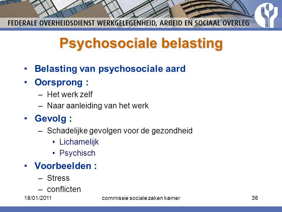 Psychosociale belasting Belasting van psychosociale aard Oorsprong : –Het werk zelf –Naar aanleiding van het werk Gevolg : –Schadelijke gevolgen voor